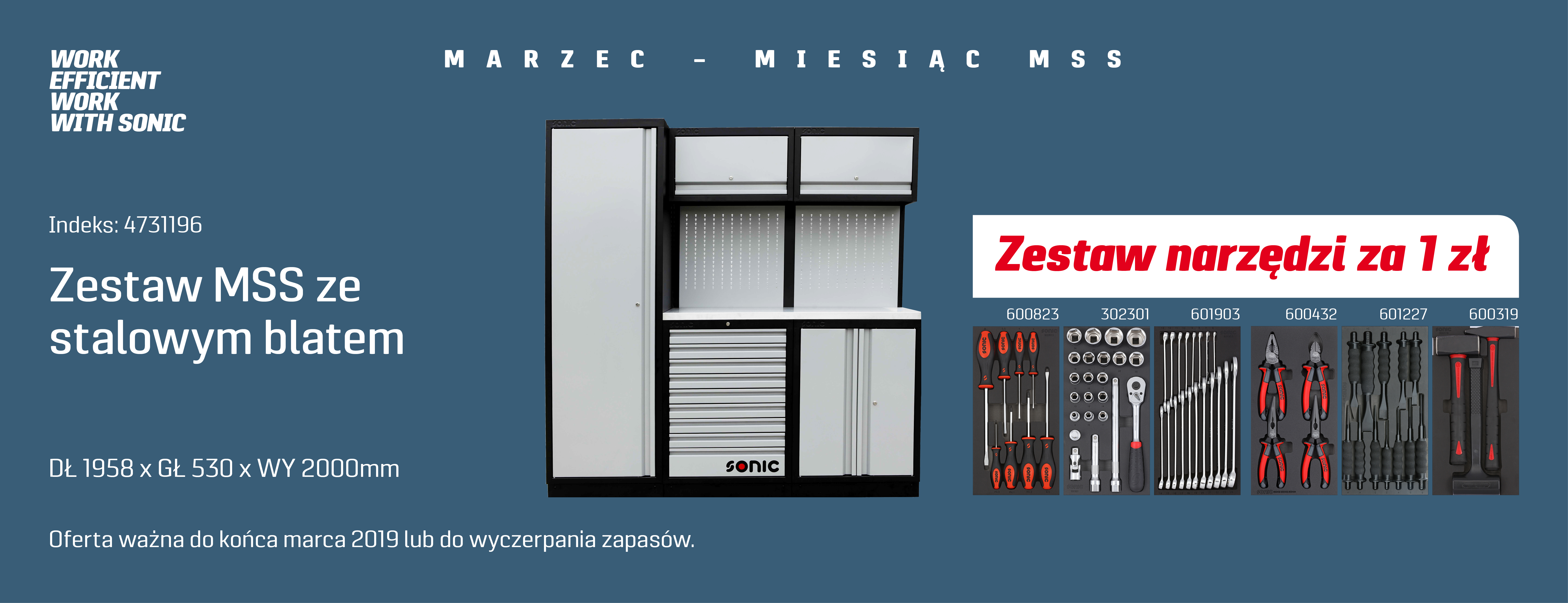 SONIC MSS Zestaw mebli z narzędziami za 1 zł