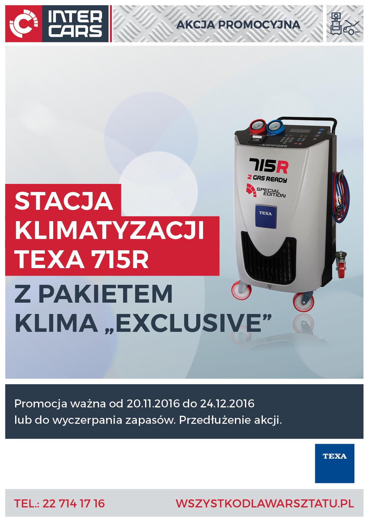 Super Promocja Stacji Klimatyzacji Texa 715R + Pakiet klima Exclusive